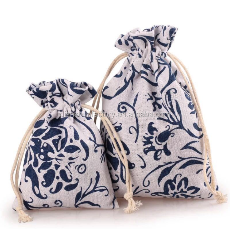 cotton linen fabric bag Clothes socks underwear shoes dust cloth bag home Sundry kids toy storage bags