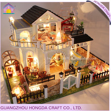 Good quality with light and furniture miniature dollhouse wooden house puzzle