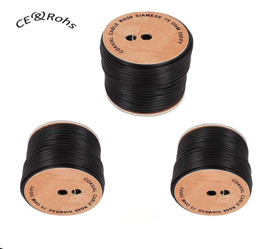 100ft 150ft 300ft 500ft Siamese Coaxial RG59 Cable Wire for CCTV Security Camera - Combo Video & Power - 20AWG