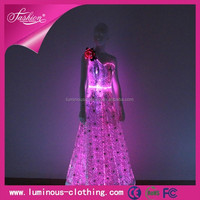 LED glow new style wedding dress fiber optical fabric korea summer fashion dress 2015