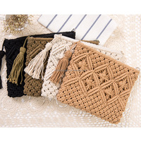 Ladies Retro Summer Crochet Bag with Tassel Handmade Straw Woven Purse Beach Bag