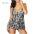 Plus Size Women No Steel Ring Gathered Halter Covered Belly Swimsuit Vintage Barocco Printed Crochet Straps Split Bathing Suit