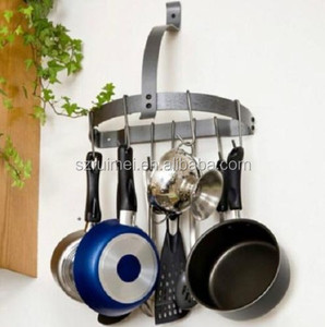 Wall Mount Metal Pot Hooks Rack Kitchen Organization