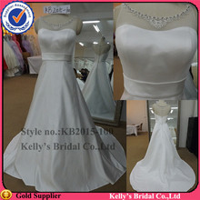 fashion new york dresses a-line satin transparent bodice tulle guangzhou wedding dress factory