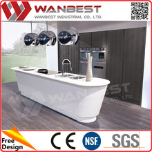 Modern white island straight kitchen cabinets with wash sinks and white artificial marble kitchen countertop