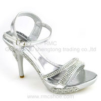 RMC elegant ankle high heel silver female diamond sandals