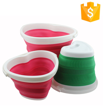 Household heart shape multifunctional silicone portable folding bucket