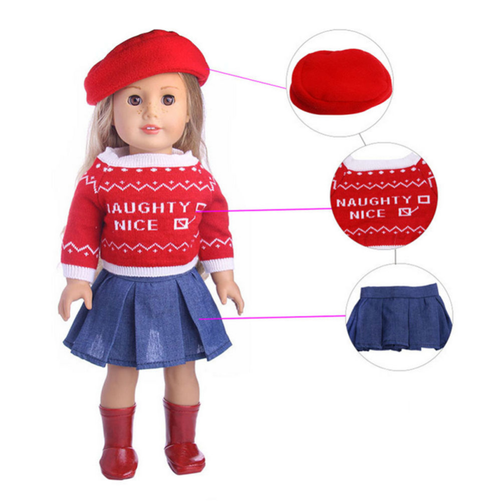 New 18inch American Girl Today Doll Hat Sweater Skirt Shoes Suit New Born Baby Doll Clothes Accessories Wholesale