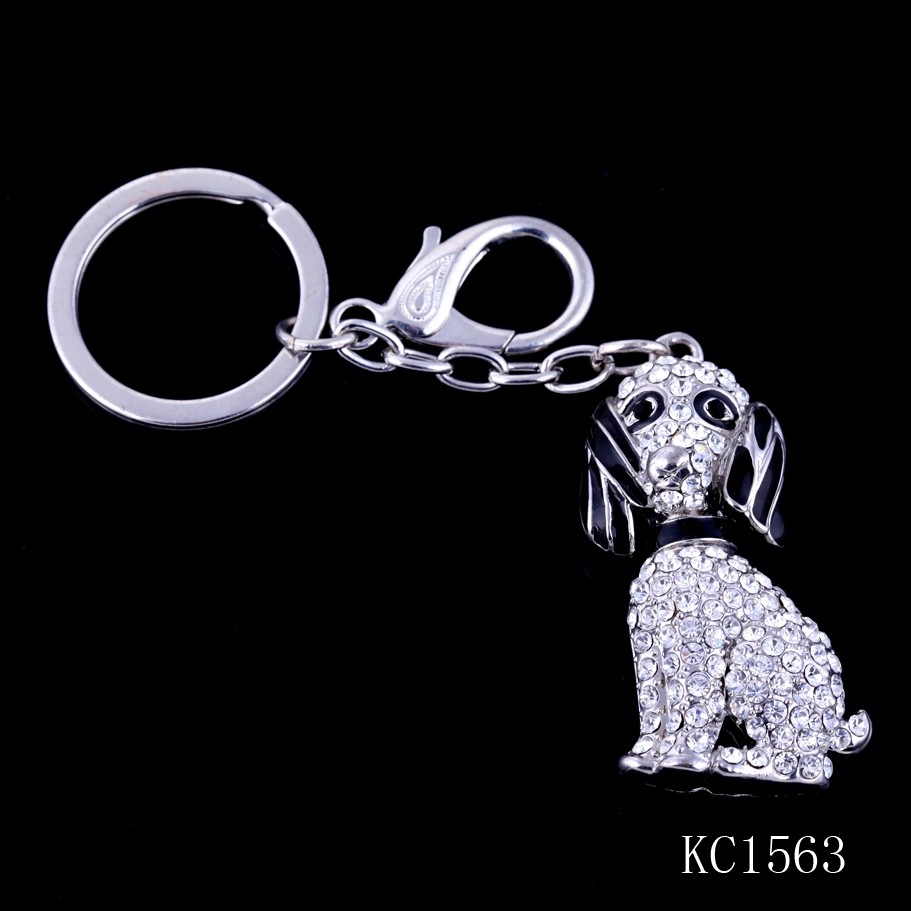 Wholesale custom crystal dog shaped silver color plated metal animal keychain