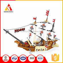 Creative gift ABS building block sets assemble boat model construction toys