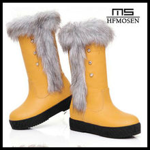 S2096 winter boots thick crust fashion rivets mid-calf boots keep warm women's snow boots