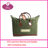 2014 top on sale brown leather green canvas fashionable canvas hand bag