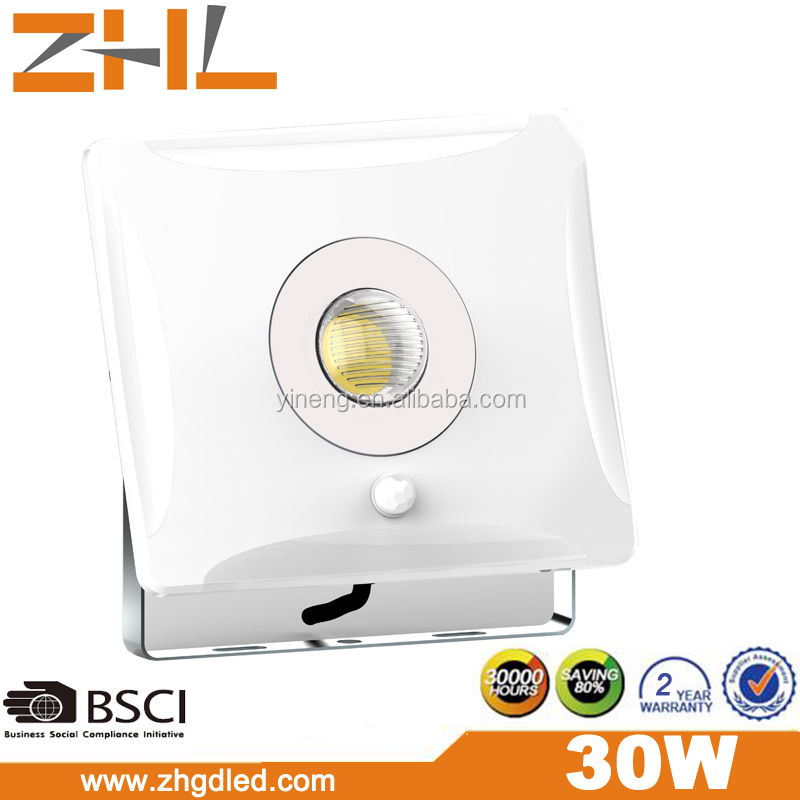 Pearl series PIR Sensor 30W COB LED Flood light 200-265VAC IP65 wateproof outdoor lighting t.<strong>u</strong>.e