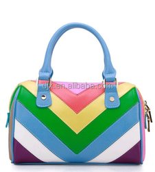 Fashion trend fancy PU rainbow colors shoulder bags 2015 China alibaba wholesale girls hand bag