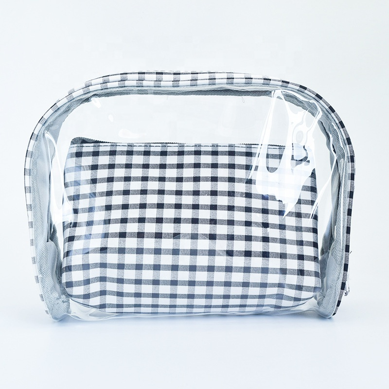 Promotional pvc cosmetic bags OEM zipper bag for cosmetic set clear plastic pvc bag