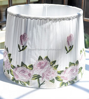 Pleated Fabric With Flower Painted Taper Table Lamp Shade
