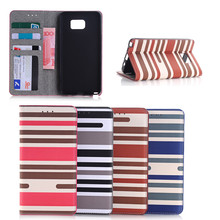 New design Colorful Stripe Design Leather Case For Samsung Galaxy Note 5, for samsung galaxy note 5 case wallet
