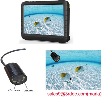 "long cable waterproof fishing camera with 5"" screen dvr fishing camera"