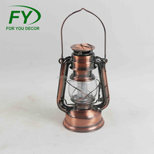 Hot selling 12*9.5*H19cm copper plated portable outdoor antique brass decorative Led camping candle lantern