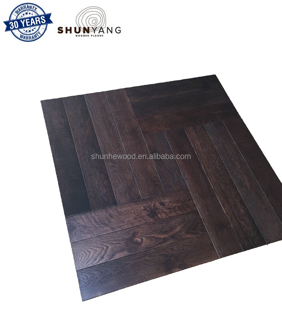 <strong>Oak</strong> Mosaic Parquet Flooring Dark Color T&G Jointed Engineered European Parquet Wood Flooring