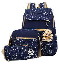 3Pcs/Set Backpacks Korean Women Backpack Canvas Printing Preppy Style School Bag for Teenage Girl Backpack