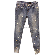 MY-275 2017 women jeans Pearl decoration jeans abrasion wash jeans