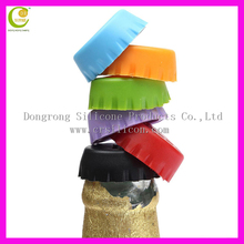 Candy colors eco-friendly silicone beer saver to keep fresh wine, beer saver reusablea wholesale silicone milk bottle caps