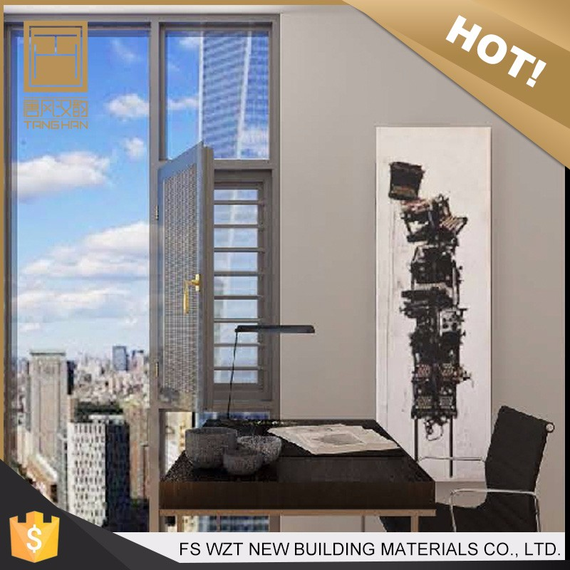 Guangdong low price apartment unbreakable double glazed aluminium window with mosquito net