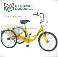 motorized tricycles for adults reverse trike delivery tricycles GW7001-6SP 24 inch adult pedal tricycle in bicycles