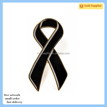 2017 Fashion custom metal iron die struck soft enamel black ribbon lapel pin