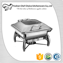Factory Price C1032 Luxury Chafing Dish Hydraulic Glass Cover Food Warmer & Buffet Server Catering Serving Dish