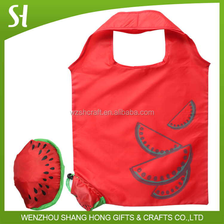 oem red fruit shape folding reusable bags/watermelon shaped tote shopping bag
