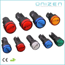 UNIZEN Shanghai DC12V Plastic Signal Indicator Pilot Lamp 22mm/ LED Indicator Lights 22mm Panel Mount CE RoHS