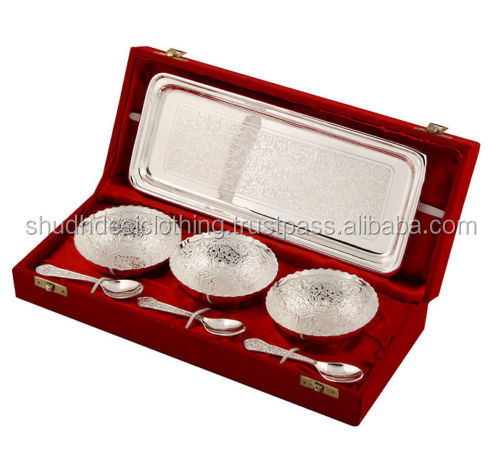 Indian Handicrafts German Silver White Metal Bowl Set for wedding Gifts, Diwali & New Year Gifts