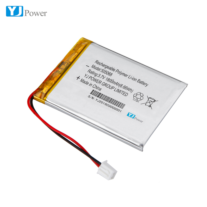 Free sample 505068 3.7v 1800 li-ion polymer battery with Connector ( NTC )