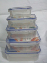 Factory direct plastic square fresh keeping lunch box set of five, food takeaway container