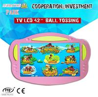 TV LCD 32 42 inch Plastic ball tossing screen wall hanging games / LCD 42 inch kids indoor playground equipment / funny games