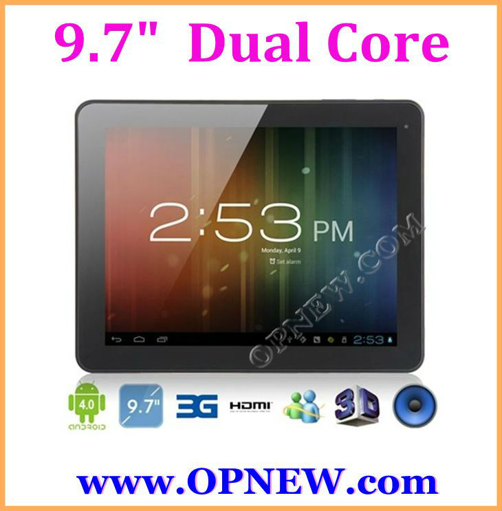 "CHEAP 9.7"" tablet pc Dual Core cortex A9 ,Android 4.2 mid with HDMI ,External 3G, 2160P Video Playback, IPS Capacitive OPNEW"