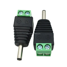 1.35mm x 3.5mm Male DC Jack 3.5mm To 1.35mm to 2Pin Screw Block Terminal Power Plug Connector for Security CCTV Camera System