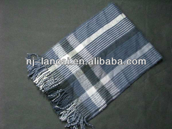 New sale Mens Navy Black plaid check brushed woven scarf