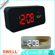 car led clock with usb charger ,red small led digital alarm clock for table