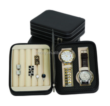 Leather Watch and Ring Jewelry Storage Case for Business Travel Trip