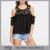 Hot Popular Summer Elegant Black Flower Embroidered Yoke Cold Shoulder Half Sleeve Ruffle Tops