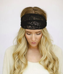 Godbead BLACK Headband Stretchy Wide Lace Mesh women's headband Finch style (