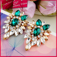 yiwu latest design hot fashion kashmiri jhumka children's green crystal jewellery pictures of gold stud earrings