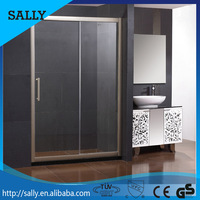 Polished frame sliding bathroom door clear glass enclosed shower room