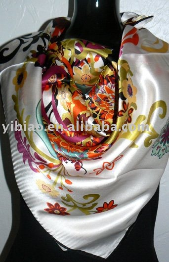 good quality&low price fashion ladies' satin shawl with floral printing