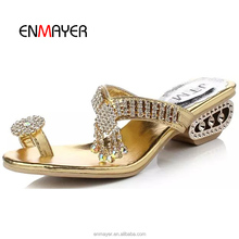 American latest ladies women fancy czech rhinestones soft metallic PU exposed toes slippers shoes and sandals