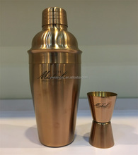 2PCS 550ml Stainless Steel Copper Rose Gold Plated Cocktail Shaker/Mixer Gift Set+Double Measuring Jigger+Customized Black Logo