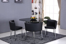 Verre table et chaise jambe chrome